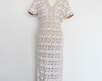 Vintage 70s Psychedelic Crochet Fred PERLBERG Couture Dress S/M/vintage wedding dress