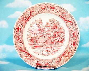 Memory Lane Royal Ironstone, Pink or Red and White Transferware plates by Royal China Inc. Sebring, Ohio 1965 Americana