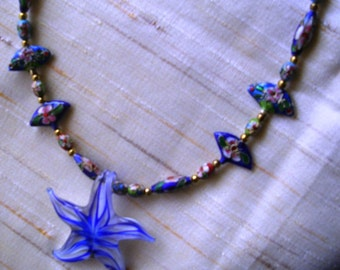 Blue Star Pendant and Enamel Beads Necklace
