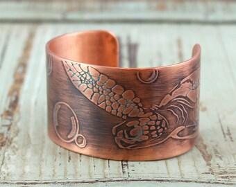 Sea Turtle Handmade Copper Cuff Bracelet