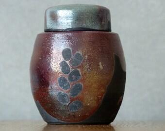 Tea box, vessel, Raku ceramic, for matcha tea