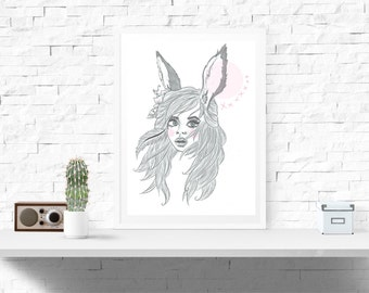 A4 Fairytale Girl Decor Print