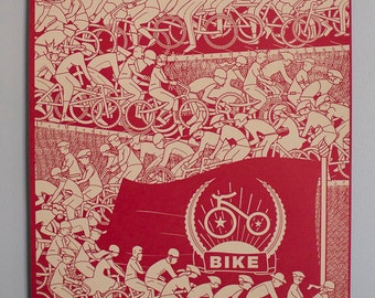 "Bike Propaganda Poster-- 18x24 inch ""Ride to Power"" Limited Edition Signed Bicycle themed poster Screenprint on French Paper"