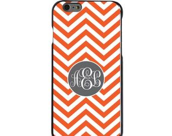 Hard Snap-On Case for Apple 5 5S SE 6 6S 7 Plus - CUSTOM Monogram - Any Colors - Orange White Grey Chevron Circle