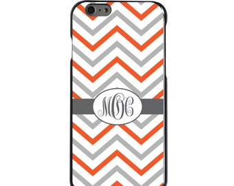Hard Snap-On Case for Apple 5 5S SE 6 6S 7 Plus - CUSTOM Monogram - Any Colors - Orange White Grey Chevron Stripes