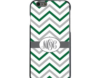 Hard Snap-On Case for Apple 5 5S SE 6 6S 7 Plus - CUSTOM Monogram - Any Colors - Dark Green White Grey Chevron