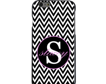 Hard Snap-On Case for Apple 5 5S SE 6 6S 7 Plus - CUSTOM Monogram - Any Colors - Black White Chevron Pink
