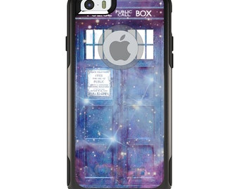 OtterBox Commuter for Apple iPhone 5S SE 5C 6 6S 7 8 PLUS X 10 - Custom Monogram - Any Colors - Fading TARDIS Outer Space Stars
