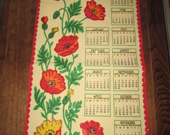 Free Shipping - Vintage 1974 Floral Calendar (California Poppies)