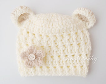 Newborn Bear Hat, Baby Bear Hat, Cream Bear Hat, Baby Hat with Ears, Cream Baby Bear, Newborn Bear Outfits, Cream Baby Outfits, Hospital Hat