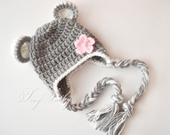 Newborn Bear Hat, Gray Bear Hat, Baby Hat with Ears, Earflap Bear Hat, Alpaca Bear Hat, Soft Bear Hat, Crochet Bear Outfits, Animal Baby Hat