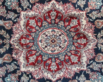 Vintage Hand Knotted Wool Isfahan Persian Style Rug