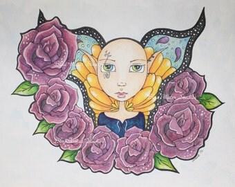"ORIGINAL Mixed Media Illustration, ""Fae of the Roses"""