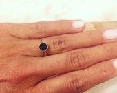 Black Druzy Ring Sterling Size 6