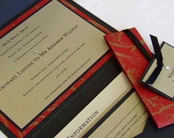 Wedding Invitation with Belly Band | Pocketfold Wedding Invitation | Pocketfold Invite | Black Invite | Wedding Invitations