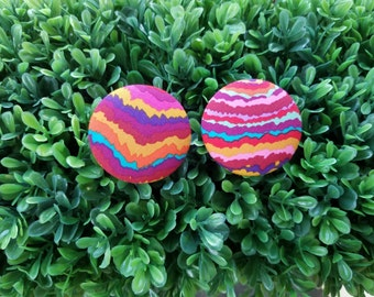 Colorfall- Handmade Fabric Button Earrings