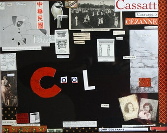 """Collage """"Letter C"""" from the Alphabet Series in a Vintage Frame"""