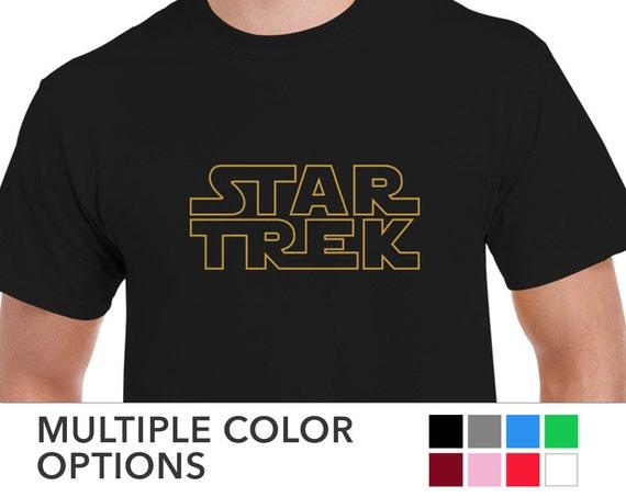 mens star trek in star wars logo t shirt tee. Black Bedroom Furniture Sets. Home Design Ideas