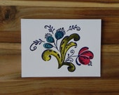 Rosemaling Card Set, Norwegian Folk Art, Blue and Red flower bouquet, Eight blank notecards and envelopes