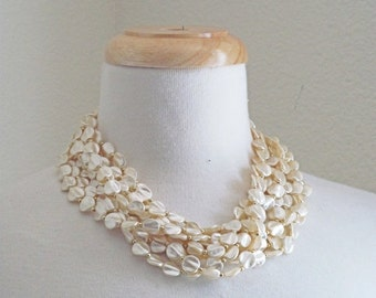 SALE Under the Sea // Vintage 60s Necklace // 1960s Multi-Strand Faux Pearl Necklace