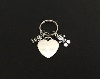 Personalized Family Key Ring. Stainless Steel Heart Key Chain. Engraved Key Ring. Customized Family Tree Key Ring. Grandma Key Chain.
