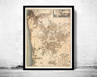 Vintage Map of Adelaide Australia 1920