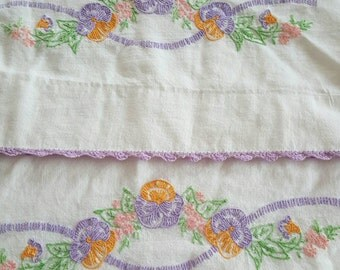 Embroidered Pansy Pillowcase Pair