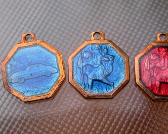 French vintage 8pcs blue  enamel Bronze medal religious  bronze red bleu enamel st christophe car travel gothic