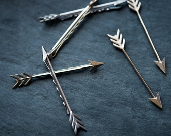 """Arrow Bobby Pin- White or Yellow Brass 3"""" Hair Accessory"""