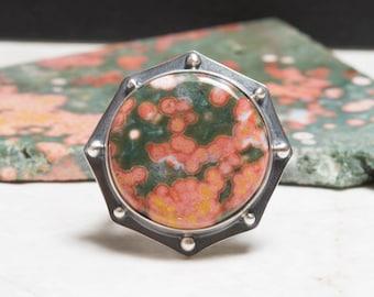 Ocean Jasper Ring - 7.0, Sterling Silver, Oxidized
