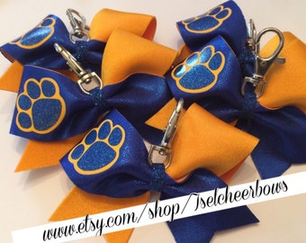 Mini cheer bow keychains with paw print (pick your color combination)