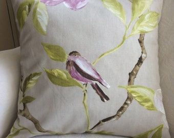 Bird pillow cover, bird cushion cover, shabby chic country style, lilac, purple, mauve, tree, ivory, green leaves