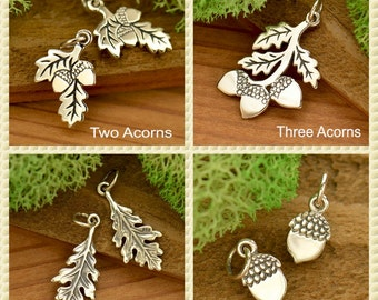 Sterling Silver Pendant with Three Acorns, Two Acorns, Oak Leaf, or Acorn - Nature - Fall - Autumn