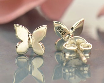 Sterling Silver Tiny Butterfly Post Earrings-Insect Lover- Nature