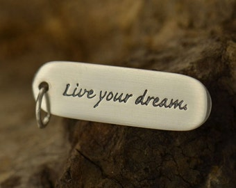 "Sterling Silver Quote Charm. ""Live your dream."" -Graduation-Motivation-Student-Inspiration"