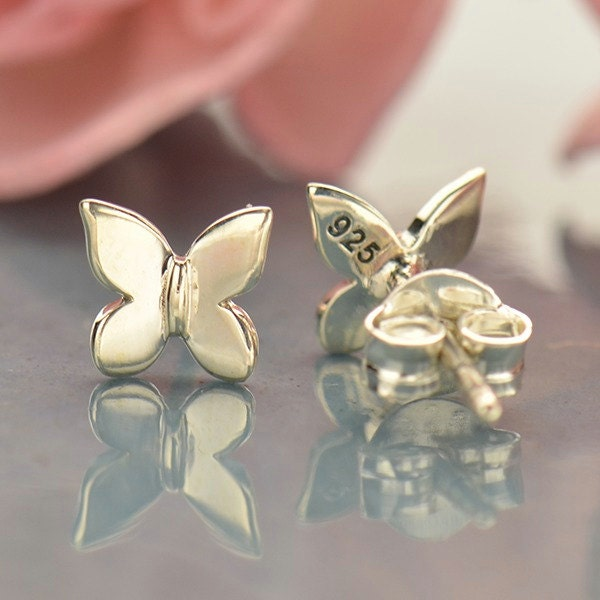 sterling silver tiny butterfly post earrings insect lover