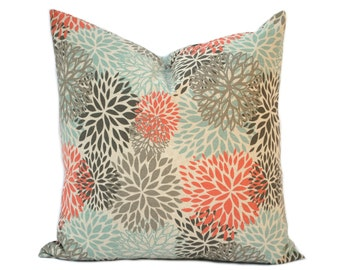"One Blooms pillow cover, Coral Pillow, Blue Pillow, Grey Pillow, Floral Pillow, 14"", 16"", 18"" 20"", decorative pillow, throw pillow"