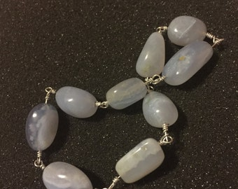 Blue Lace Agate Nuggets Bracelet Calming Uplifting