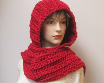 Brick Red/Orange Long Scarf with Hood, Red Hat, Hooded Scarves, Womans Hooded Scarf, Warm Crochet Scarf, Elizabeth B4-044