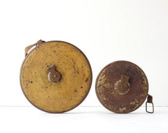 Vintage Tape Measure Cloth Lufkin Set of Two 50 Ft 100 Ft Brass Antique Tools Lufkin Cloth Measures