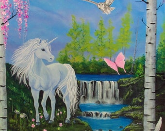 "Fantasy art ~ Fairy Tale art print ~Unicorn art ~Wall art ~ ""Magical Deam"""