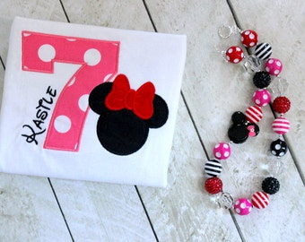 minnie mouse birthday shirt pink black red clothing toddler baby first birthday outfit minnie mouse shirt  birthday outfit red yellow black