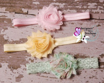 Baby Toddler Girl Woman Headband Set, Shabby Flower Headband, Light Pink Yellow Mint Floral - SBst-015