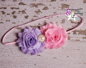 Pink Lavender Double Shabby Flower Pearl Rhinestone Headband, Flower Headband, Spring, Easter, Baby Toddler Girl Woman - SB-008F