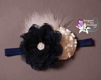 Ivory Navy Blue Denim Chiffon Lace Flower Pearl Rhinestone Feather Headband - Baby Girl Toddler Woman Vintage - SB-085