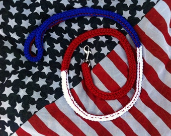 Patriotic Dog Leash, Olympics, Patriotic leash, parade leash, Small Dog Leash, Red White and Blue, Dog Leash, American Dog Leash, K-9, ADL