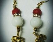 "Sweet Nothings- ""The Devastating Diva/Elephant"" Handmade white glass bead, red crystal bead, drop earrings. DST inspired. Delta Sigma Theta."