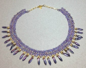 Lavender Necklace, Handmade, Netted, Seed Beads