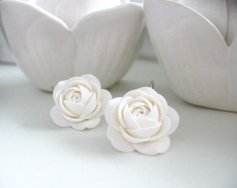 Polymer clay earrings - White rose flower Bridal Bridesmaids leverback earrings