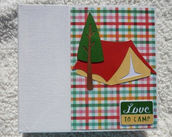 6x6 Camping Scrapbook Photo Album with Tent Cover